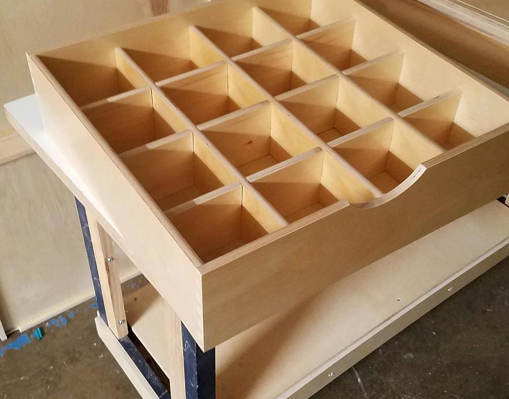 drawer with custom cubby holes